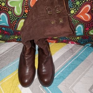 Tall Brown SuedeLeather Boots